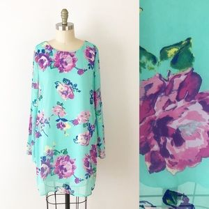 Everly Chiffon Bell Sleeve Floral Tunic Dress